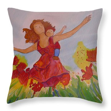 Throw Pillow featuring the painting Let's Fly  by Gioia Albano