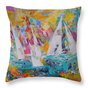 Throw Pillow featuring the painting Lets Go Sailing by Lyn Olsen