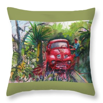 Let's Go Surfin', Red Throw Pillow