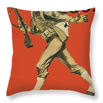 Let's Go - Vintage Marine Recruiting Throw Pillow