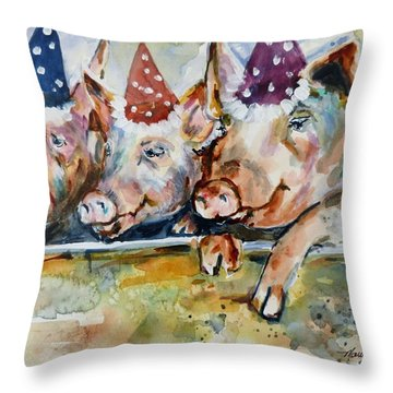 Let's Have A Piggy Party Throw Pillow