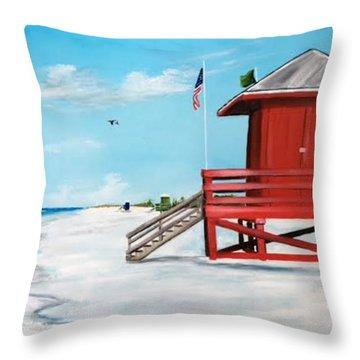 Let's Meet At The Red Lifeguard Shack Throw Pillow
