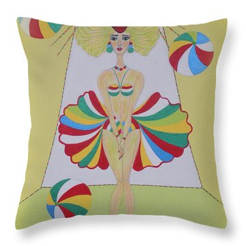 Throw Pillow featuring the painting Let's Play Balls by Marie Schwarzer