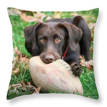Let's Play Football Throw Pillow by Lori Deiter