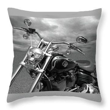 Let's Ride - Harley Davidson Motorcycle Throw Pillow by Gill Billington
