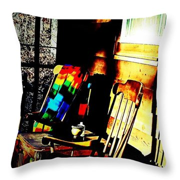Let's Rock Throw Pillow by Rachel Hannah