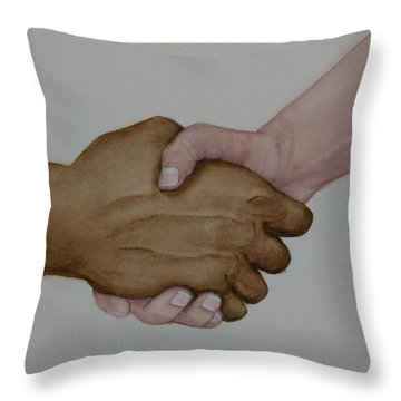 Let's Shake Hands On It Throw Pillow by Kelly Mills