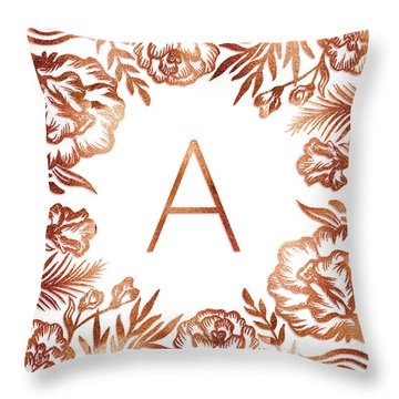 Letter A - Rose Gold Glitter Flowers Throw Pillow