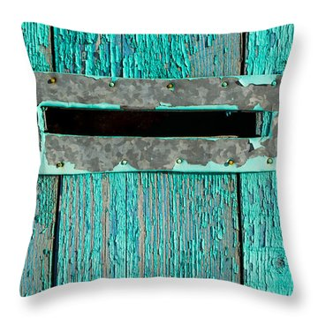 Letter Box On Blue Wood Throw Pillow