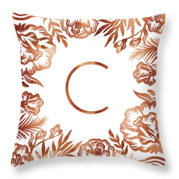 Letter C - Rose Gold Glitter Flowers Throw Pillow