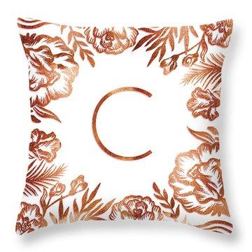 Letter C - Rose Gold Glitter Flowers Throw Pillow