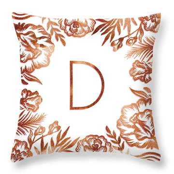 Letter D - Rose Gold Glitter Flowers Throw Pillow