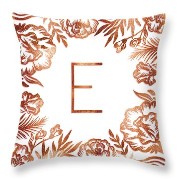 Letter E - Rose Gold Glitter Flowers Throw Pillow