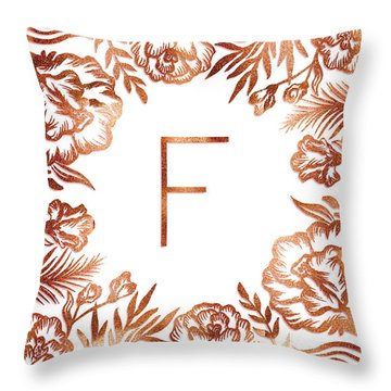 Letter F - Rose Gold Glitter Flowers Throw Pillow