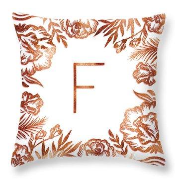Letter F - Rose Gold Glitter Flowers Throw Pillow