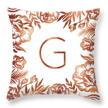 Letter G - Rose Gold Glitter Flowers Throw Pillow