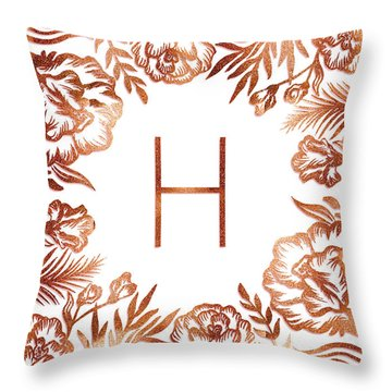 Letter H - Rose Gold Glitter Flowers Throw Pillow