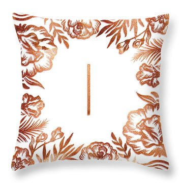 Letter I - Rose Gold Glitter Flowers Throw Pillow
