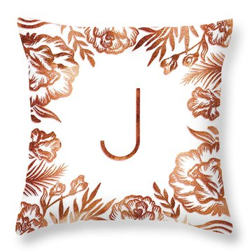 Letter J - Rose Gold Glitter Flowers Throw Pillow