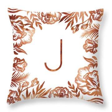 Letter J - Rose Gold Glitter Flowers Throw Pillow