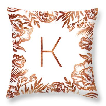 Letter K - Rose Gold Glitter Flowers Throw Pillow