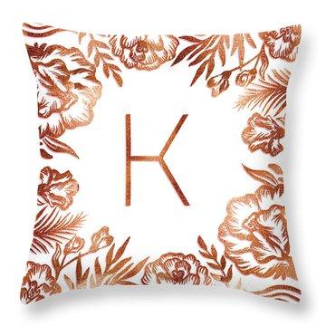 Letter K - Rose Gold Glitter Flowers Throw Pillow