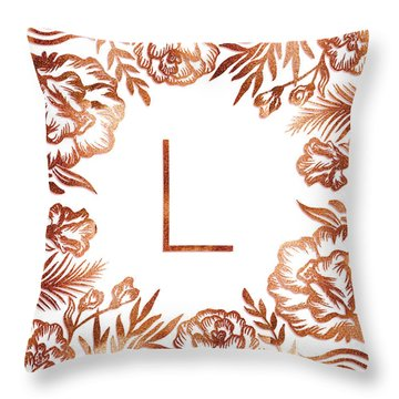 Letter L - Rose Gold Glitter Flowers Throw Pillow