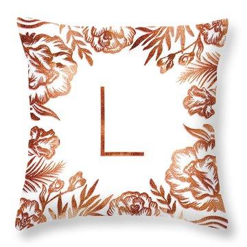 Letter L - Rose Gold Glitter Flowers Throw Pillow