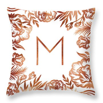 Letter M - Rose Gold Glitter Flowers Throw Pillow