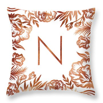 Letter N - Rose Gold Glitter Flowers Throw Pillow