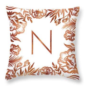 Letter N - Rose Gold Glitter Flowers Throw Pillow
