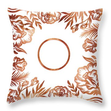 Letter O - Rose Gold Glitter Flowers Throw Pillow