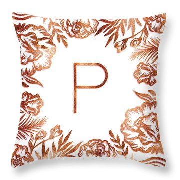 Letter P - Rose Gold Glitter Flowers Throw Pillow