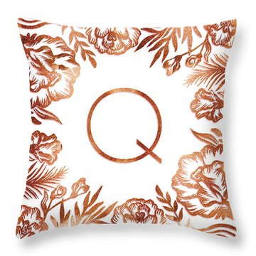Letter Q - Rose Gold Glitter Flowers Throw Pillow