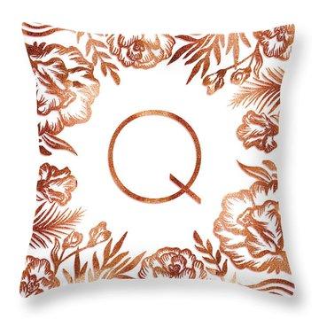 Letter Q - Rose Gold Glitter Flowers Throw Pillow