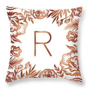 Letter R - Rose Gold Glitter Flowers Throw Pillow