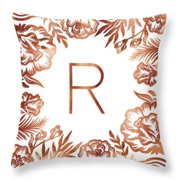 Letter R - Rose Gold Glitter Flowers Throw Pillow