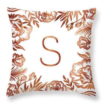 Letter S - Rose Gold Glitter Flowers Throw Pillow