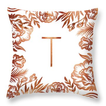 Letter T - Rose Gold Glitter Flowers Throw Pillow