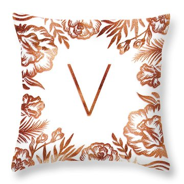 Letter V - Rose Gold Glitter Flowers Throw Pillow