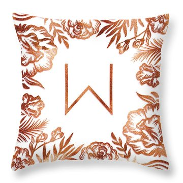 Letter W - Rose Gold Glitter Flowers Throw Pillow