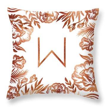 Letter W - Rose Gold Glitter Flowers Throw Pillow