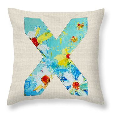 Letter X Roman Alphabet - A Floral Expression, Typography Art Throw Pillow
