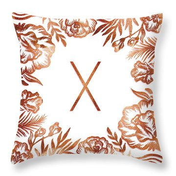 Letter X - Rose Gold Glitter Flowers Throw Pillow