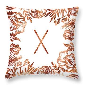 Letter X - Rose Gold Glitter Flowers Throw Pillow