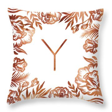 Letter Y - Rose Gold Glitter Flowers Throw Pillow