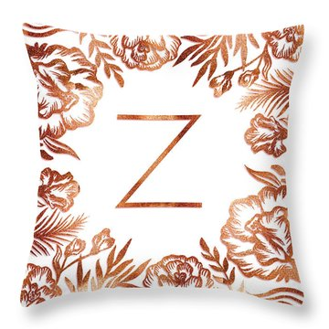 Letter Z - Faux Rose Gold Glitter Flowers Throw Pillow