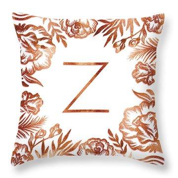 Letter Z - Faux Rose Gold Glitter Flowers Throw Pillow