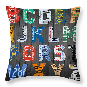 Letters Of The Alphabet Recycled Vintage License Plate Art With Apple Colorful School Nursery Kids Room Print Throw Pillow by Design Turnpike