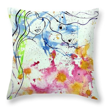 Letting Go Throw Pillow by Julie Hoyle